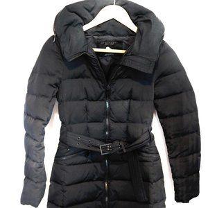 Zara Black Mid Length Puffer parka/coat (x-small)
